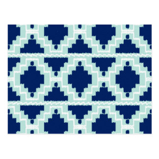 Ikat Aztec Pattern - Indigo and light blue Postcard
