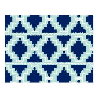 Ikat Aztec Pattern - Indigo and light blue Postcard