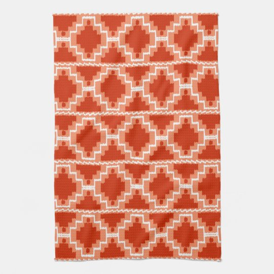 Ikat Aztec Pattern - Rust, Orange and white