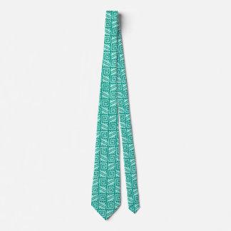 Ikat Aztec Pattern - Turquoise and Aqua Tie