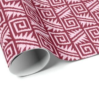 Ikat Aztec Tribal - Burgundy and Pink Wrapping Paper