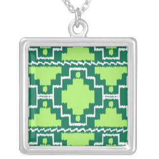 Ikat Aztec Tribal - Forest and Lime Green Pendant