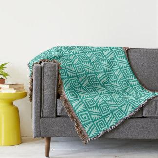 Ikat Aztec Tribal - Turquoise and Aqua Throw Blanket