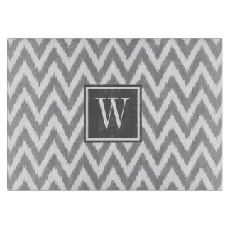 Ikat Chevron Grey Monogram Glass Cutting Board