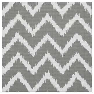 Ikat Chevron Pattern - Silver grey / gray & white Fabric