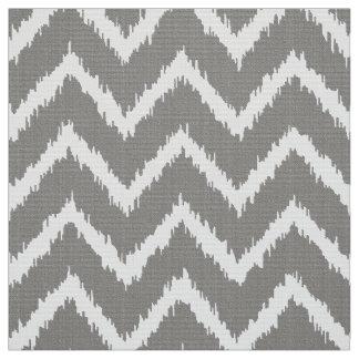 Ikat Chevron Pattern - Silver grey / gray & white Fabric