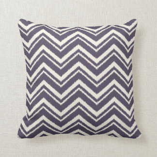 Ikat Chevron Striped Pattern in Plum Cushion