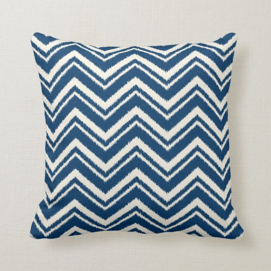 Ikat Chevron Striped Pattern Navy Blue Cushion