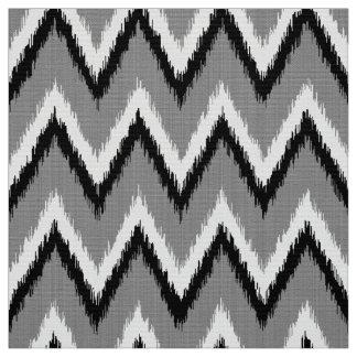 Ikat Chevron Stripes - Grey / Gray, Black & White Fabric