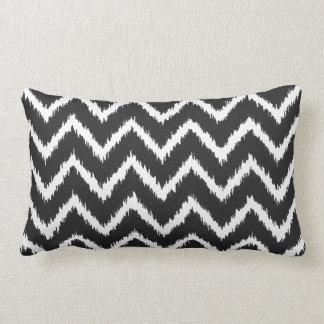 Ikat Chevrons - Black and white Lumbar Cushion
