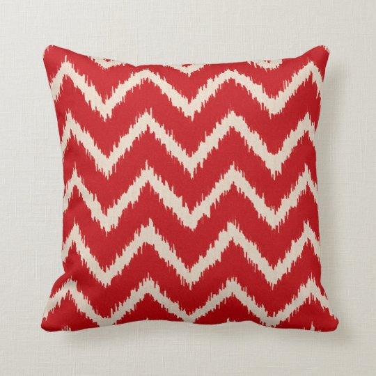 Ikat Chevrons - Chinese red and tan Cushion