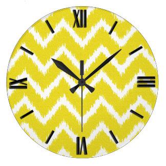 Ikat Chevrons - Mustard yellow and white Clocks