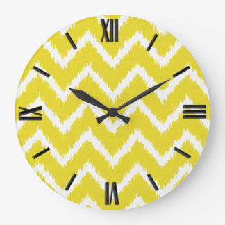 Ikat Chevrons - Mustard yellow and white Large Clock