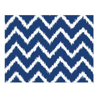 Ikat Chevrons - Navy blue and white Postcard
