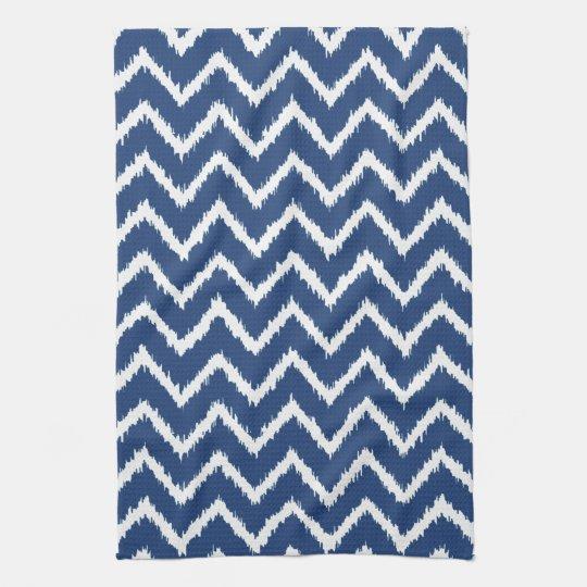 Ikat Chevrons - Navy blue and white Tea