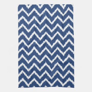 Ikat Chevrons - Navy blue and white Towel