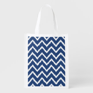 Ikat Chevrons - Navy blue and white Grocery Bags