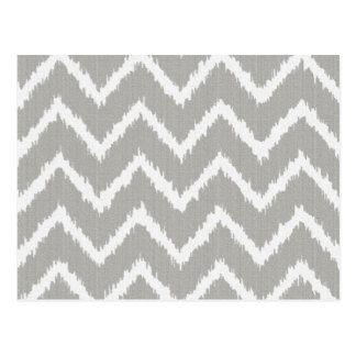 Ikat Chevrons - Silver grey and white Postcard