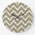 Ikat Chevrons - Taupe tan and beige Large Clock