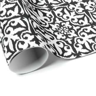 Ikat damask pattern - Black and White Wrapping Paper
