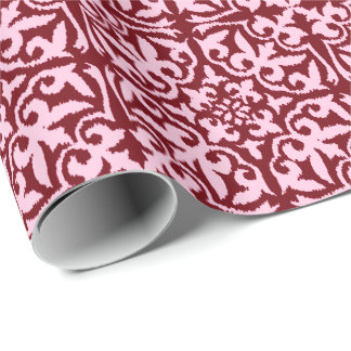 Ikat damask pattern - Burgundy and Pink Wrapping Paper
