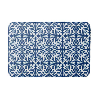 Ikat damask pattern - Cobalt Blue and White Bath Mat