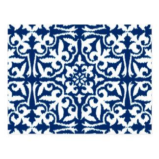 Ikat damask pattern - Cobalt Blue and White Postcard