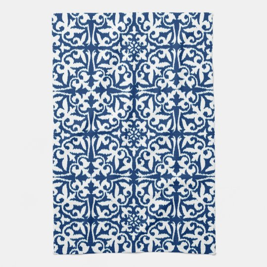 Ikat damask pattern - Cobalt Blue and White