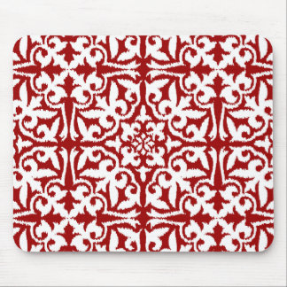 Ikat damask pattern - Dark Red and White Mouse Pad