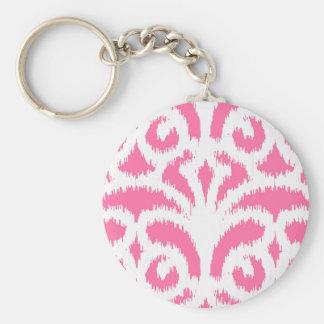 Ikat damask pattern - Fluorescent Pink Keychain