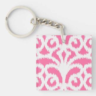 Ikat damask pattern - Fluorescent Pink Square Acrylic Keychains