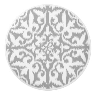 Ikat damask pattern - silver grey and white ceramic knob