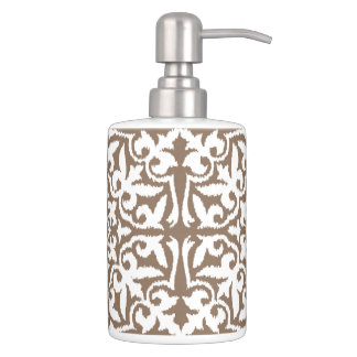 Ikat damask pattern - Taupe Tan and White Soap Dispensers