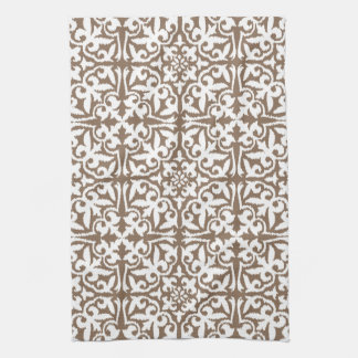 Ikat damask pattern - Taupe Tan and White Tea Towel