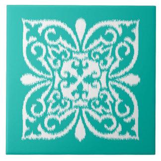 Ikat damask pattern - turquoise and white large square tile