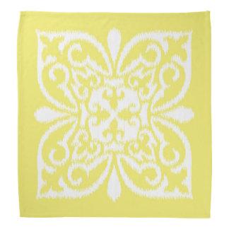 Ikat damask pattern - yellow and white bandana