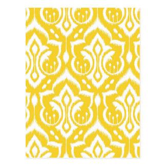 Ikat Damask - Sunshine Yellow Postcard