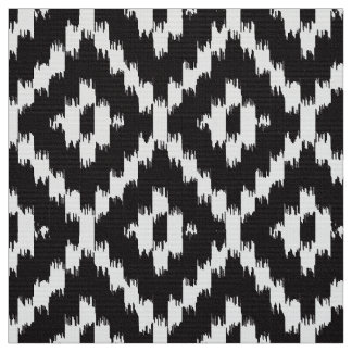 Ikat Diamond Pattern - Black and white Fabric