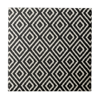 Ikat Diamond Pattern in Black and Cream Small Square Tile