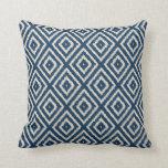 Ikat Diamond Pattern in Light Blue and Cream Cushion