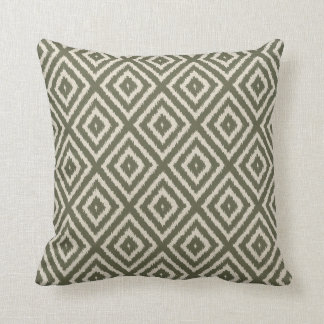 Ikat Diamond Pattern in Olive Green and Cream Cushion