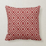 Ikat Diamond Pattern in Red and Cream Cushion