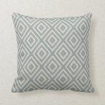 Ikat Diamond Pattern Light Blue and Cream Cushion