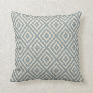 Ikat Diamond Pattern Light Blue and Cream Throw Pillow