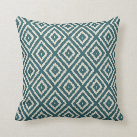 Ikat Diamond pattern Teal and Cream Cushion