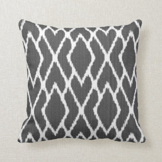 Ikat diamonds - Charcoal grey and white Cushion