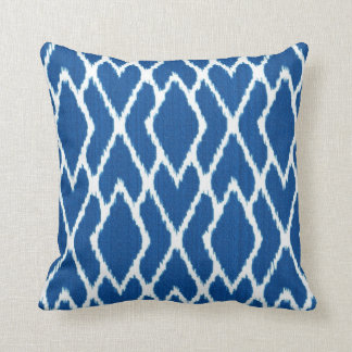 Ikat diamonds - Cobalt blue and white Cushion