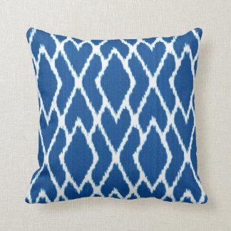 Ikat diamonds - Cobalt blue and white Throw Pillow