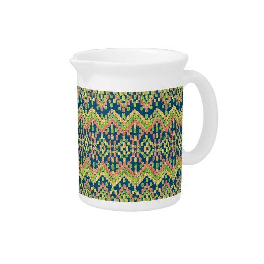 Ikat Ethnic Moorish Pattern on Blue Beverage Pitchers