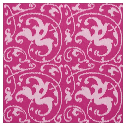 Ikat Floral Damask - Fuchsia and Pale Pink